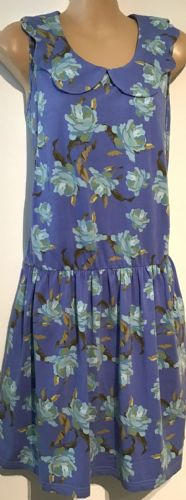 BEARSLAND BLUE FLORAL SCALLOP COLLAR DRESS SIZE L 14